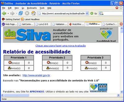 Tela com a avaliação do Software Da Silva, comprovando a acessibilidade do Portal