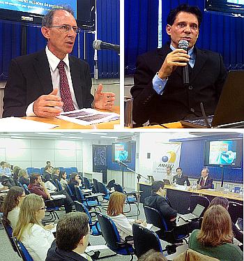 Roberto Pinto Martins, superintendente de Controle de Obriga��es, Fl�vio Silveira, da Meta Insituto de Pesquisas e Opini�o, apresentam o resultado da pesquisa de satisfa��o